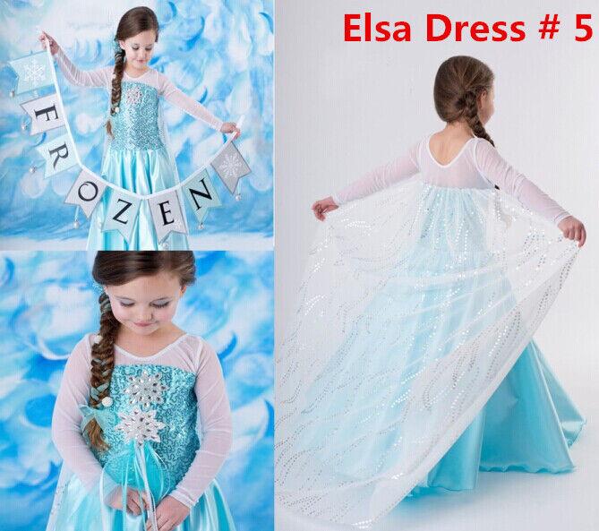 Princess Elsa Anna Frozen Dressup Costume Dress Ball Gown Toddler 2-10 Y