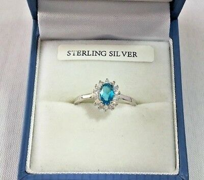 Sterling Silver Royal Cluster Ring created Blue Aquamarine & Diamond Size L - P