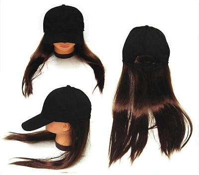 NOVELTY BASEBALL HAT WITH LONG BROWN HAIR costume dressup ball cap mens women](Costumes For Men With Long Hair)