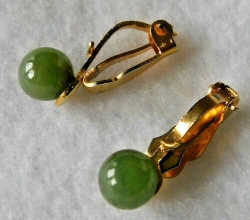 Pair Earrings Gold Tn Clips With Round Jade Jadeite Stone / Bead