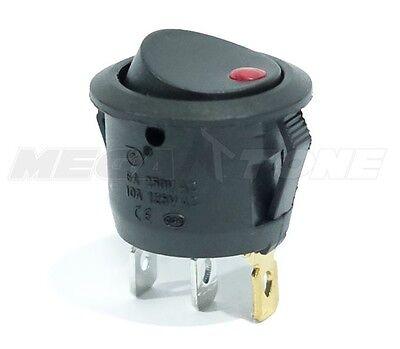Spst 3 Pin Onoff Round Rocker Switch W Red Dot Light 10a125vac. Usa Seller