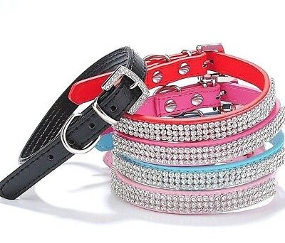 Pretty Diamond Crystal Rhinestones Leather Bling Collar for