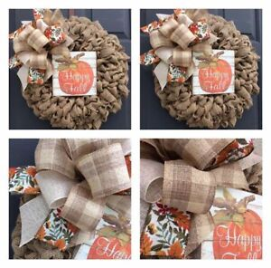 New Fall burlap ribbon wreath