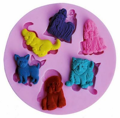 Dog Puppy 6 cavity Silicone Mold for Fondant, Gum Paste, Chocolate, Crafts NEW