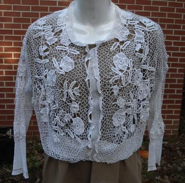 Antique Irish Clones Crochet Lace Blouse Jacket Handmade Needle Lace Shirt