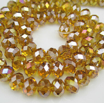 Jewelry Faceted 30pcs Rondelle glass crystal #5040 6x8mm Beads Amber AB MYC30