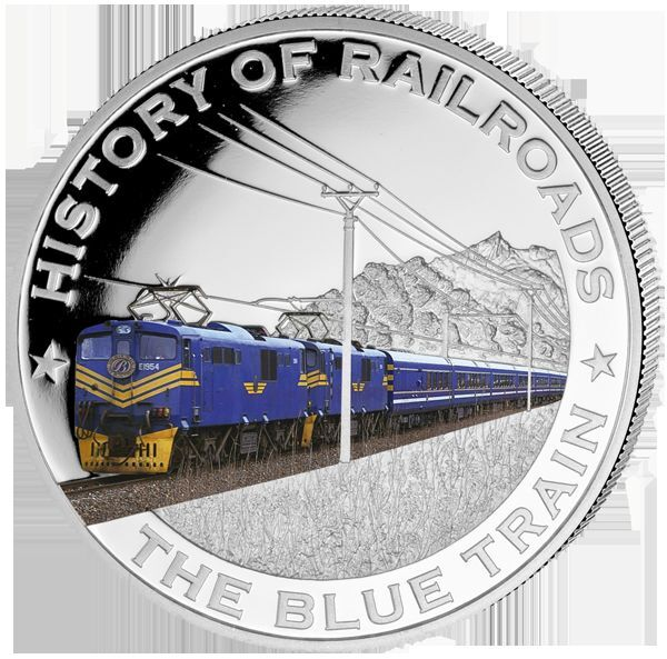 Liberia 2011 $5 History of Railroads - The Blue Train Proof Silver Coin