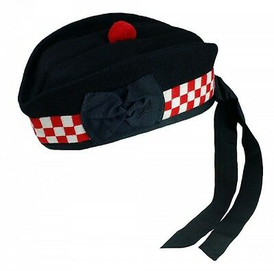 Balmoral Kilt Hat With Pompom Wool Scottish Highland Wear Cap Tam Bonnet