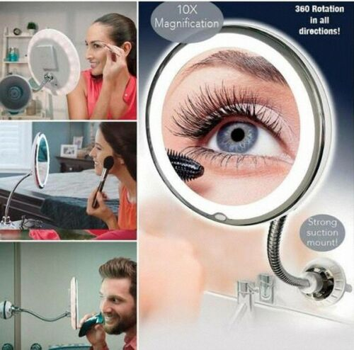 Make-up Mirror Flexible Gooseneck 10 X Magnifying LED Lighted Mirror Bathroom DE
