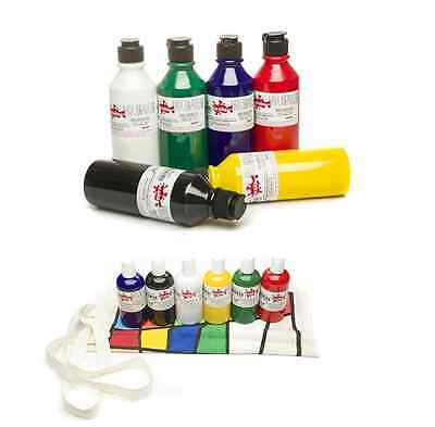 SCOLA SET LARGE 6 x 300ml COLOUR FABRIC PAINT RED GREEN WHITE BLUE BLACK YELLOW