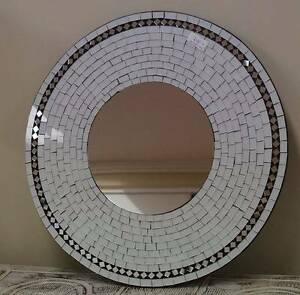 White  Round Mosaic Mirror Cleveland Redland Area Preview