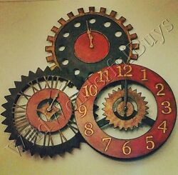 Farmhouse Gear Wall Clock Round 35 Metal Iron Movement Rusty Gears Rustic Large