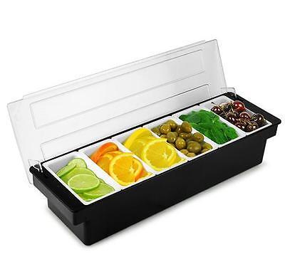 6 Compartment Black Condiment Holder Bar Drinks Fruit Garnish Cocktail Lime Lemo