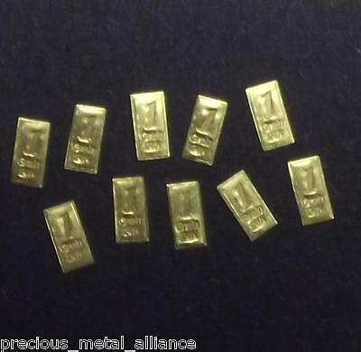 10 GR GRAlN 24kt 999.9 Pure 24 Karat GoldBarren Fine Solid Gold Bullion Bar LOT