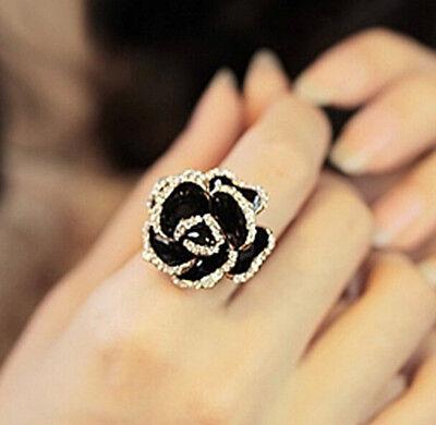 (FD1499 Elegant Black Rose Ring Rhinestone Flora Flower Ring Fashion Jewelry 1pc)