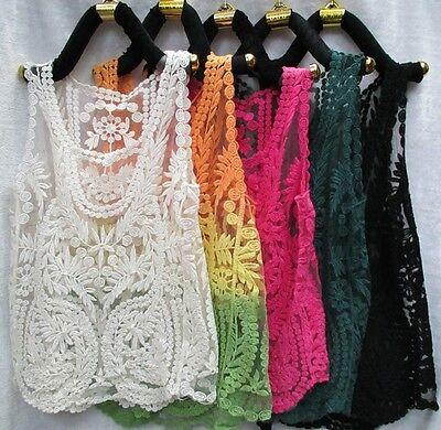 Lace Floral Sleeveless Crochet Knit Vintage Women Vest Tank Top Shirt Beige Sexy