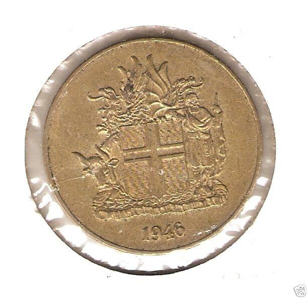 1946 ICELAND Coin 2 KRONUR *