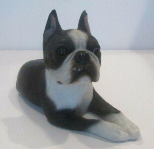 Sandicast Boston Terrier Black and White Dog Figurine 10 x 6