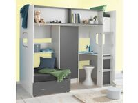 Fantastic high Sleeper bed with lots of storage (Wardrobe, desk, guest bed/sofa chair)