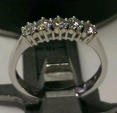 Anillo Eternidad Diamantes Naturales 0,75 CT Oro Blanco 18KT Descuento 50% Boda