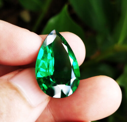 24.5x15.5mm. 18.35cts. EXCELLENT PEAR CUT GREEN EMERALD LOOSE GEMs AAA+