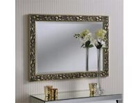 Large Accent Champagne silver Grape Leaf mirror silver mantle dressing table