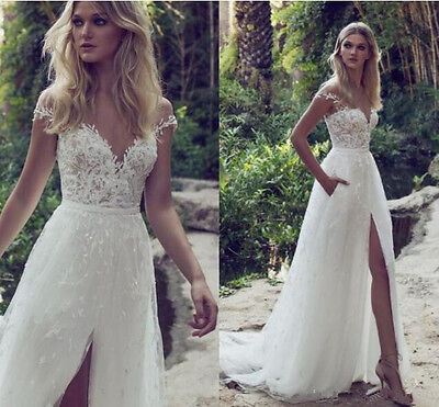 Custom Sweep Train Lace Wedding Dresses Vintage Garden Beach Boho Bridal Gowns