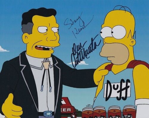 STACY KEACH & DAN CASTELLANETA signed autographed THE SIMPSONS DUFF BEER photo