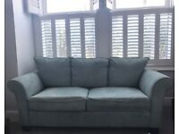 Lovely sky blue/aqua two seater sofa - great condition!