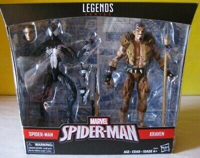 "2017 Marvel Legends Target Exclusive 6"" Spider Man Black Suit & Kraven 2 Pk MIP"
