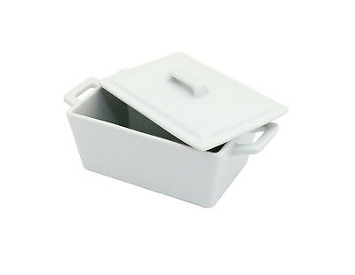 NEW White Butter Dish with Lid Porcelain Ceramic Dining Table Serving Bowl