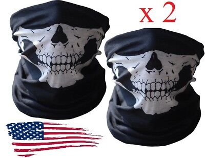 2 Skeleton Ghost Skull Face Mask Biker Balaclava Call of Duty COD Costume Game - Black Face Mask Costume