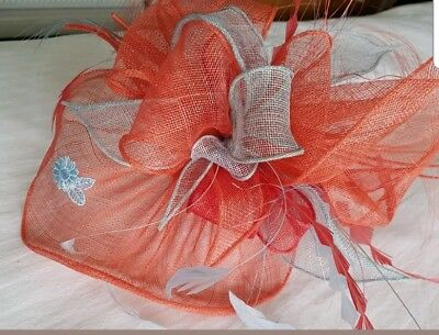 Coral and grey fascinator Wedding Races Coast