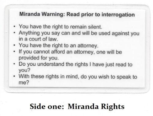 Miranda Warning (Rights) & Phonetic Alphabet Card / Military / Sheriff / Police