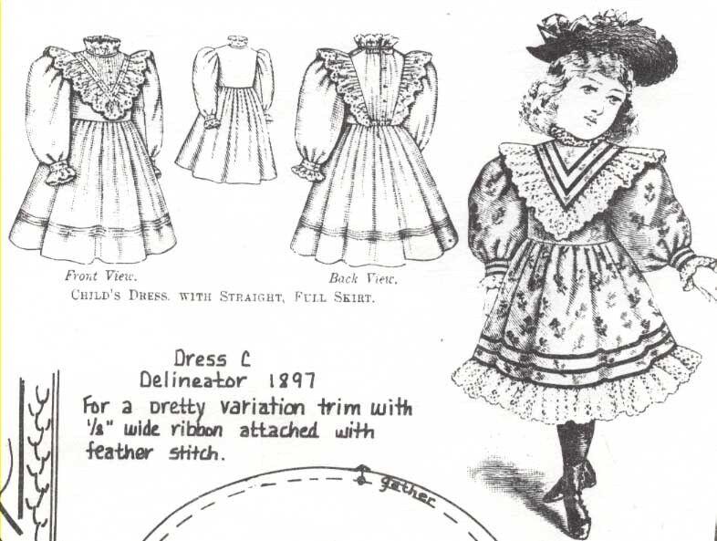 """10""""ANTIQUE MILLETTE DOLL@1881-1899 LOW-HI WAIST YOKE DRESS w/VARIATIONS PATTERN"""