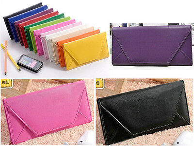 New Women Envelope Bag Clutch Handbag Soft PU Purse Covered Button Wallet US