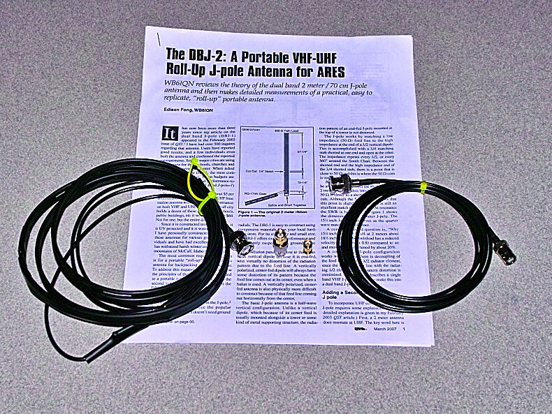 Authentic N9TAX VHF//UHF Slim Jim J-Pole For HT 2m 70cm Antenna 16/' Coax