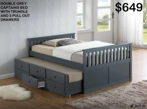 BRAND NEW DOUBLE MATES BEDS WITH TRUNDLE & 3 DRAWERS!