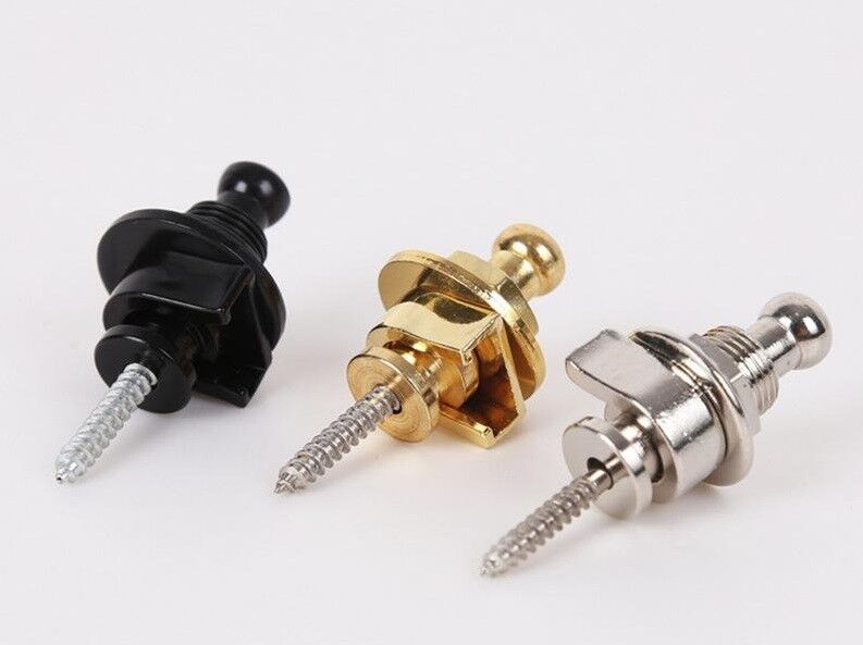 PREMIUM Gurtpin Gitarre Security Lock Endpin Pin StrapLock schwarz chrom gold