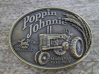 John Deere Poppin Johnnie Model A Tractor Belt Buckle Antique Bronze NEW