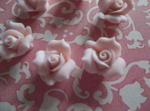 "11mm Pink Ceramic Rose 1/2"" Flower Porcelain Cameos Cabochons Solid Pink Qty 6"
