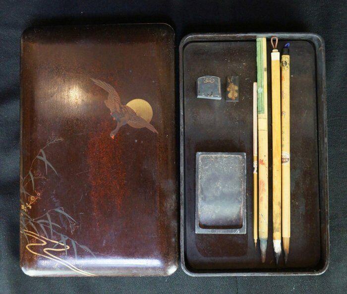 Japan Suzuri Zen calligraphy writing box and stone 1950s Japanese antique