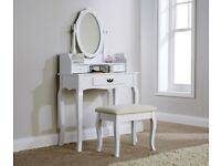 White dressing table stool and mirror set