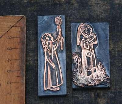 2 x Galvano Druckplatte Klischee Eichenberg printing plate copper Mädchen Baby
