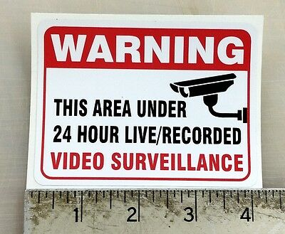 Warning Video Surveillance gun firearm home security window sticker decal