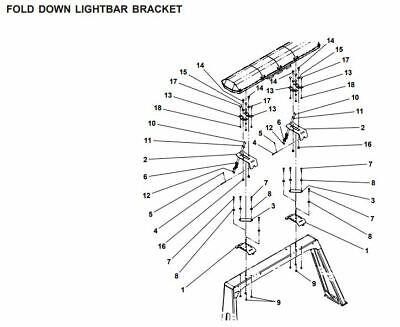 Jerr Dan MPL wrecker folding light bar bracket