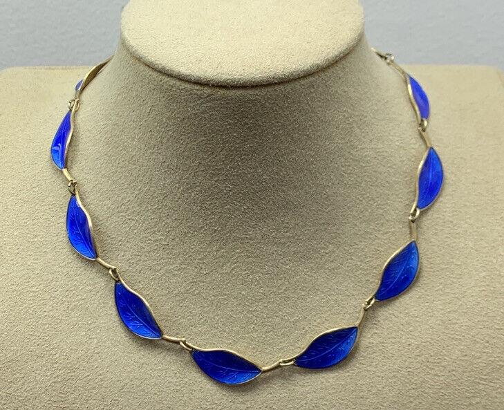 Vintage David Andersen Norway Sterling Silver Blue Enamel Leaf Necklace