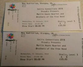 2 x tickets for Martin Hayes quartet at Celtic Connections