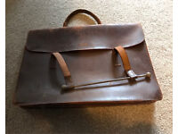 Leather brown, laptop or music bag