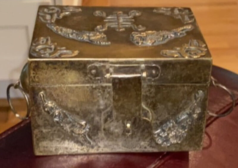 Vintage Chinese SILVER gilt BOX Dragon Phoenix Bat Design * Asian Art